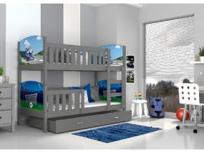moderna detska obrazkova poschodova postel TAMI siva 01