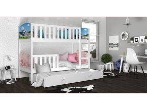 detska poschodova postel s pristelkou TAMI 3 biela