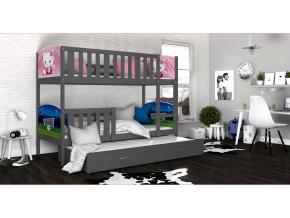 detska poschodova postel s pristelkou TAMI 3 siva