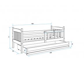 moderna sivadetska jednolozkova postel KUBUS P so zasuvkou siva zelena