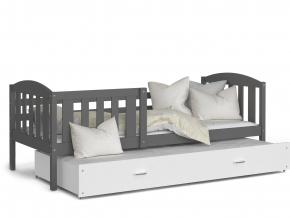 detska postel s pristelkou KUBUŠ P2 siva biela