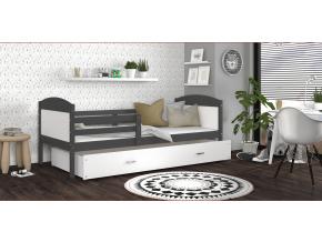 detska jednolozkova postel MATEUSZ P siva biela