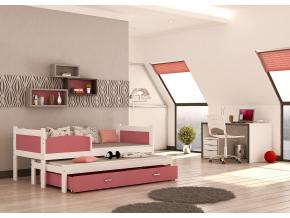detska postel s pristelkou TWIST P2 bielo ruzova