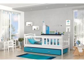 krzys detská posteľ biela modrá