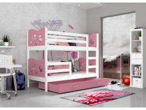 moderna biela detska poschodova postel MAX biela ruzova dekor vlacik ruzova