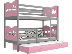 poschodova postel s pristelkou MAX 3 siva ruzova