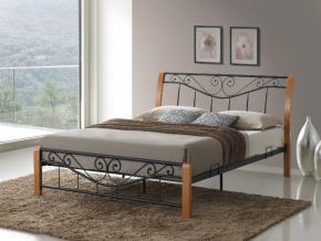 moderna kovova manzelska postel PARMA 160x200 dub cierna