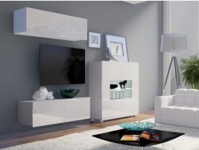 moderna biela leskla obyvacia stena CALABRINI IX biela biely lesk
