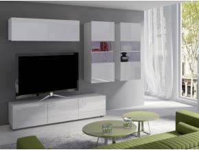 moderna biela leskla obyvacia stena CALABRINI VI biela biely lesk