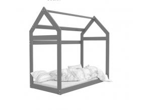 moderna drevena detska postel DOMCEK siva