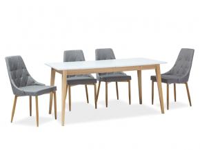 moderny biely rozkladaci jedalensky stol CESAR biela dub