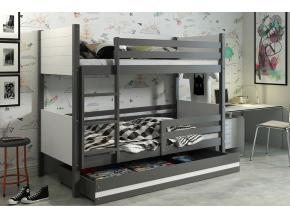 detská poschodová posteľ Clir s úložným priestorom grafit