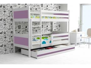 detská poschodová posteľ Rino biela fialová