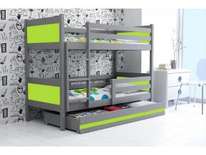 detská poschodová posteľ Rino grafit zelená