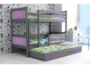detská poschodová posteľ Rino grafit fialová
