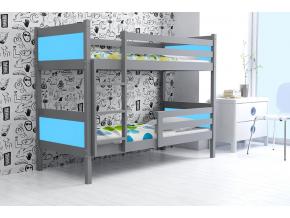 detská poschodová posteľ Rino grafit modrá