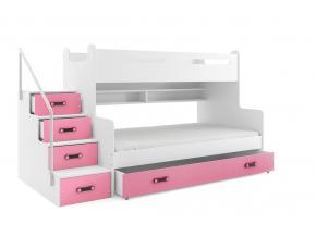 oblubena moderna detska poschodova postel MAX 3 biela ruzova