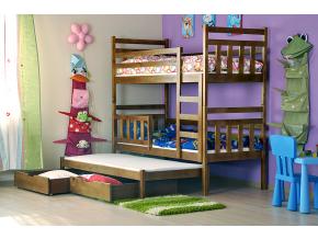 detska poschodova postel s pristelkou NEMO 3 OS rustikal