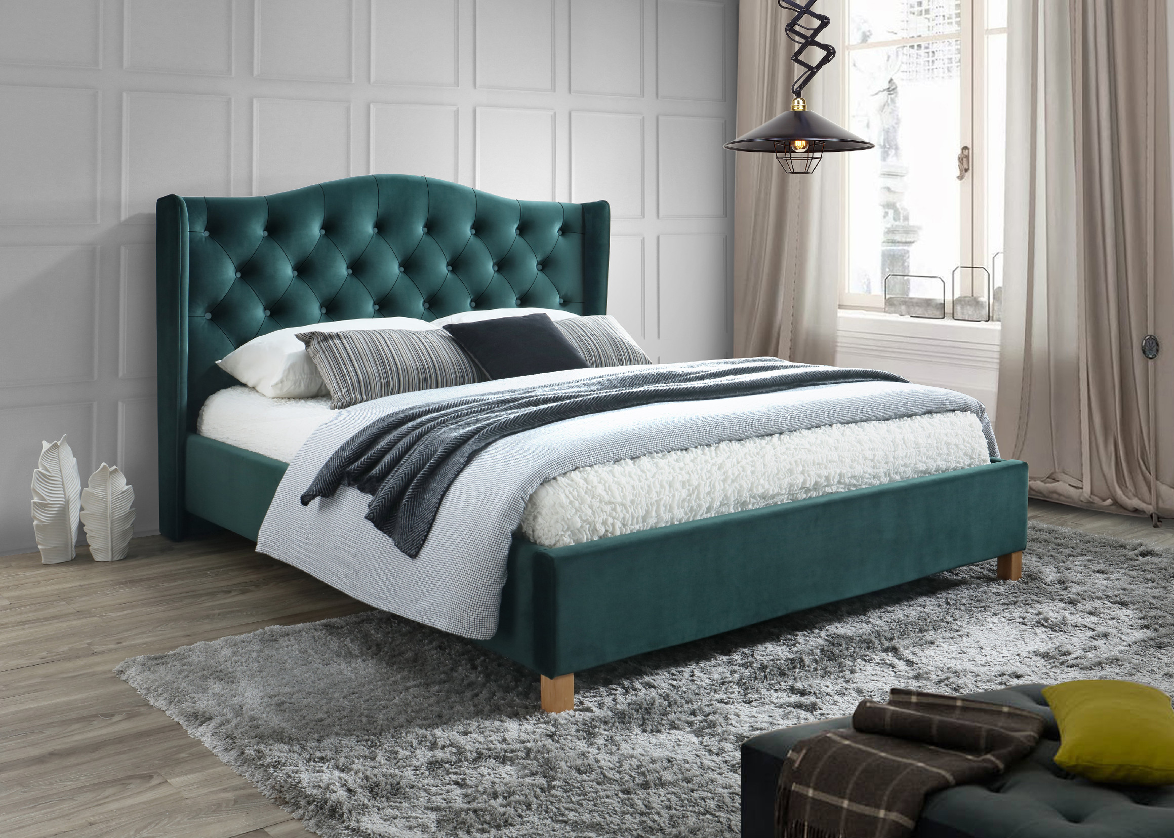 Signal Manželská posteľ Aspen Velvet 160x200 cm Farba: Zelená