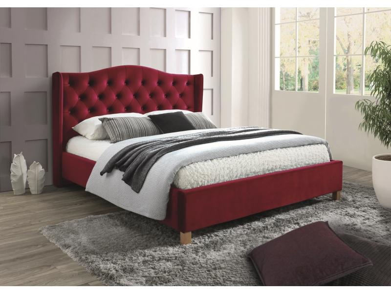 Signal Manželská posteľ Aspen Velvet 160x200 cm Farba: Bordová