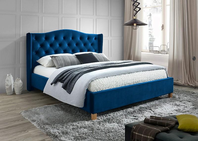 Signal Manželská posteľ Aspen Velvet 160x200 cm Farba: Modrá