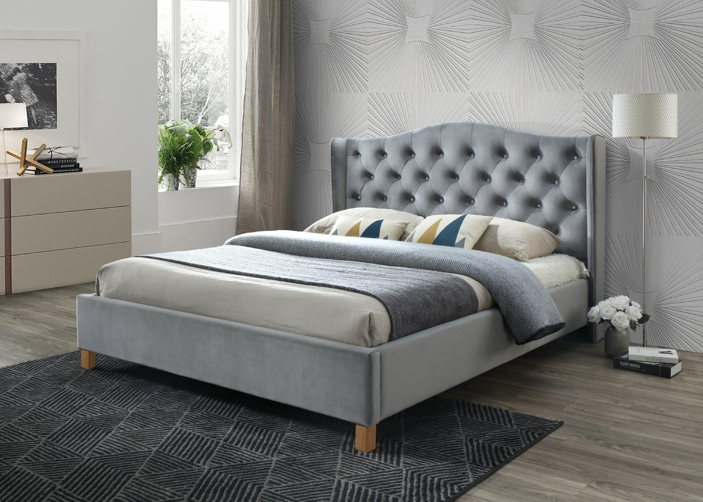 Signal Manželská posteľ Aspen Velvet 160x200 cm Farba: Sivá