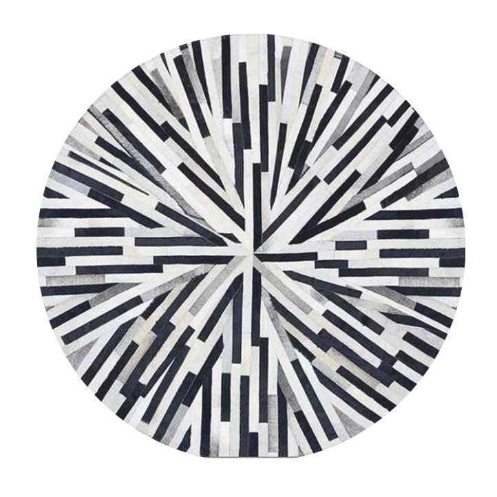 Tempo Kondela Luxusný kožený koberec, čierna/béžová/biela, patchwork, 200x200, KOŽA TYP 8