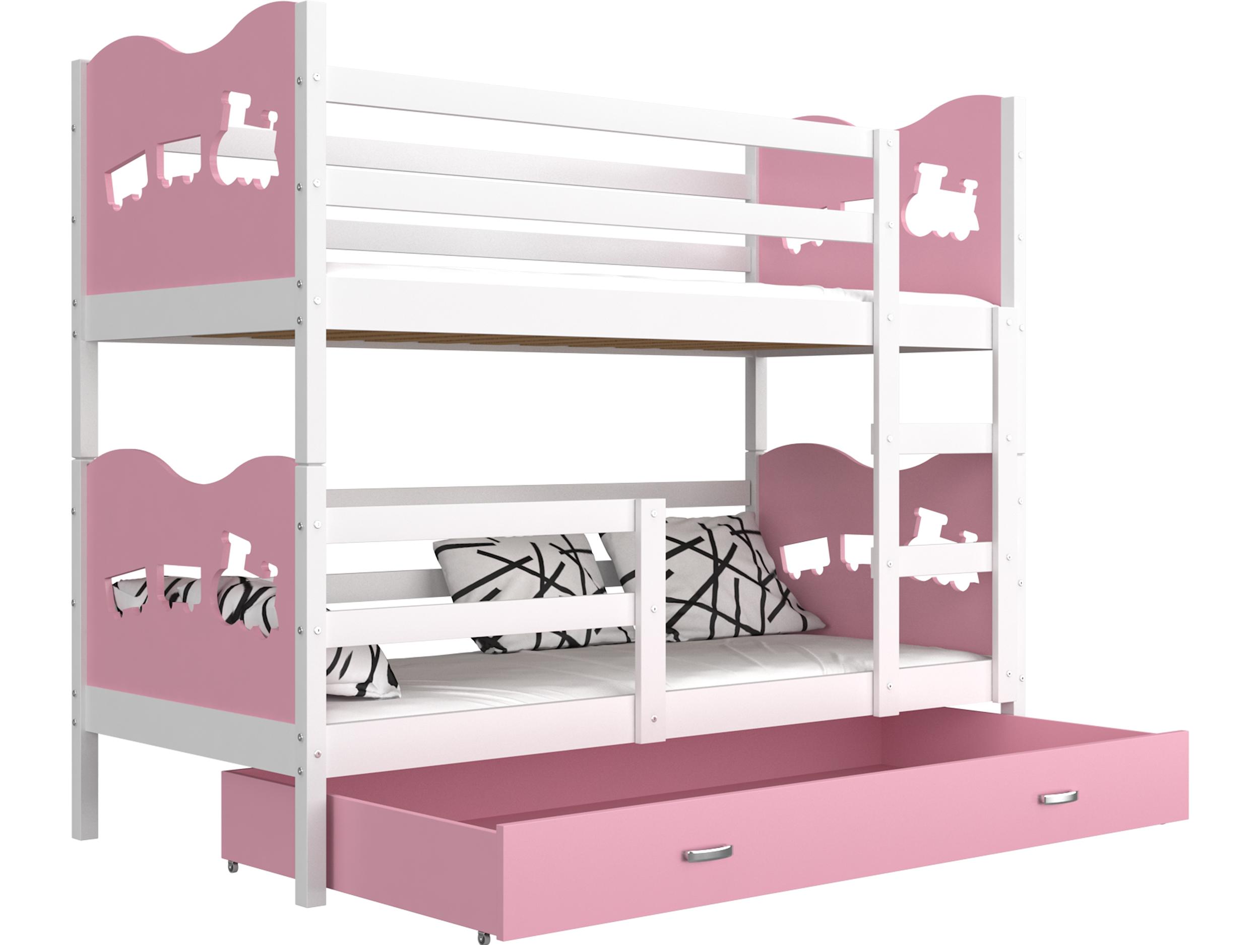 ArtAJ Detská poschodová posteľ MAX / MDF 160 x 80 cm Farba: biela / ružová, Prevedenie: bez matraca 160 x 80 cm