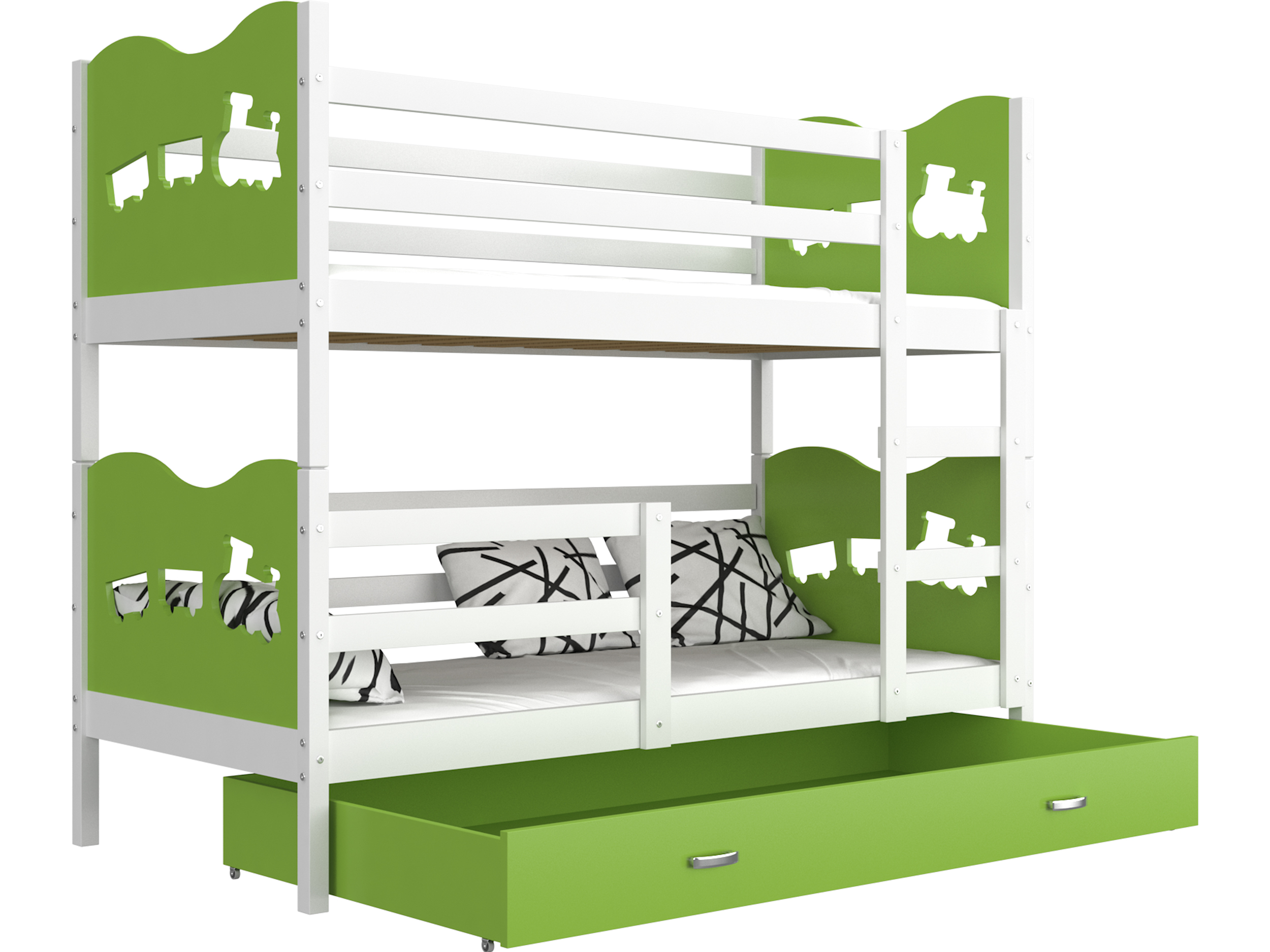ArtAJ Detská poschodová posteľ MAX / MDF 160 x 80 cm Farba: biela / zelená, s matracom 160 x 80 cm