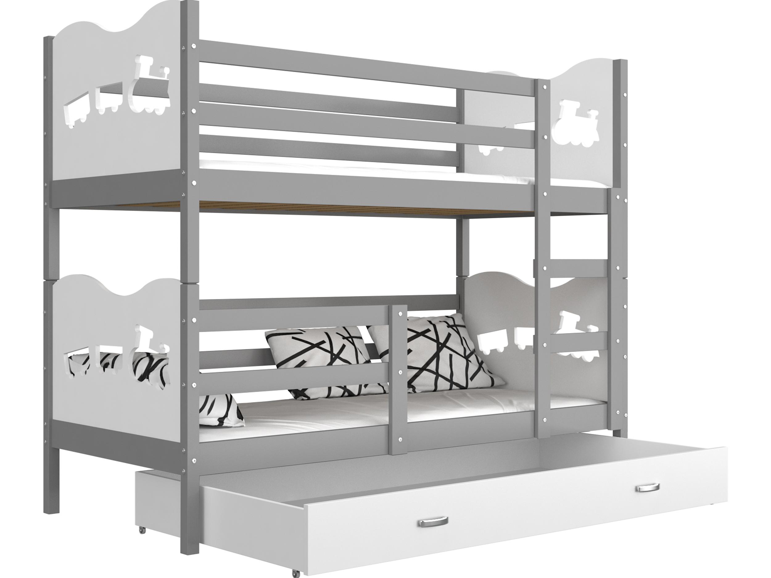 ArtAJ Detská poschodová posteľ MAX / MDF 160 x 80 cm Farba: Sivá / biela, Prevedenie: bez matraca 160 x 80 cm
