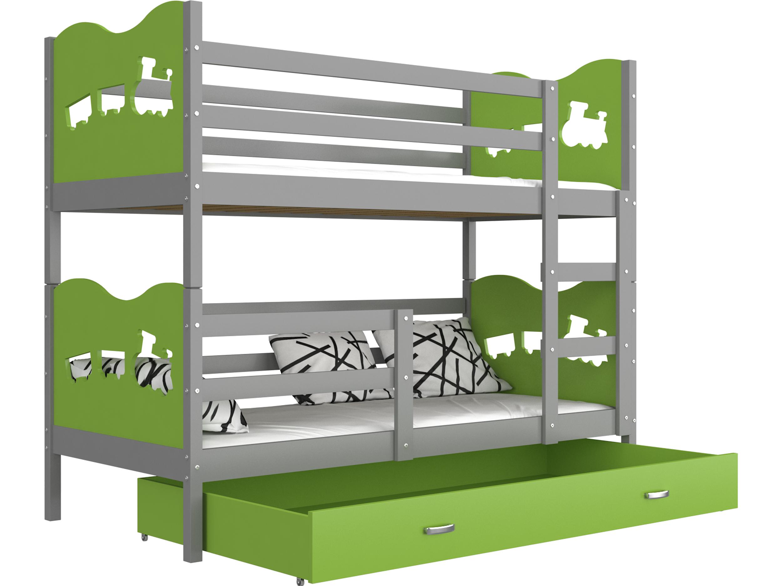 ArtAJ Detská poschodová posteľ MAX / MDF 160 x 80 cm Farba: Sivá / zelená, Prevedenie: bez matraca 160 x 80 cm