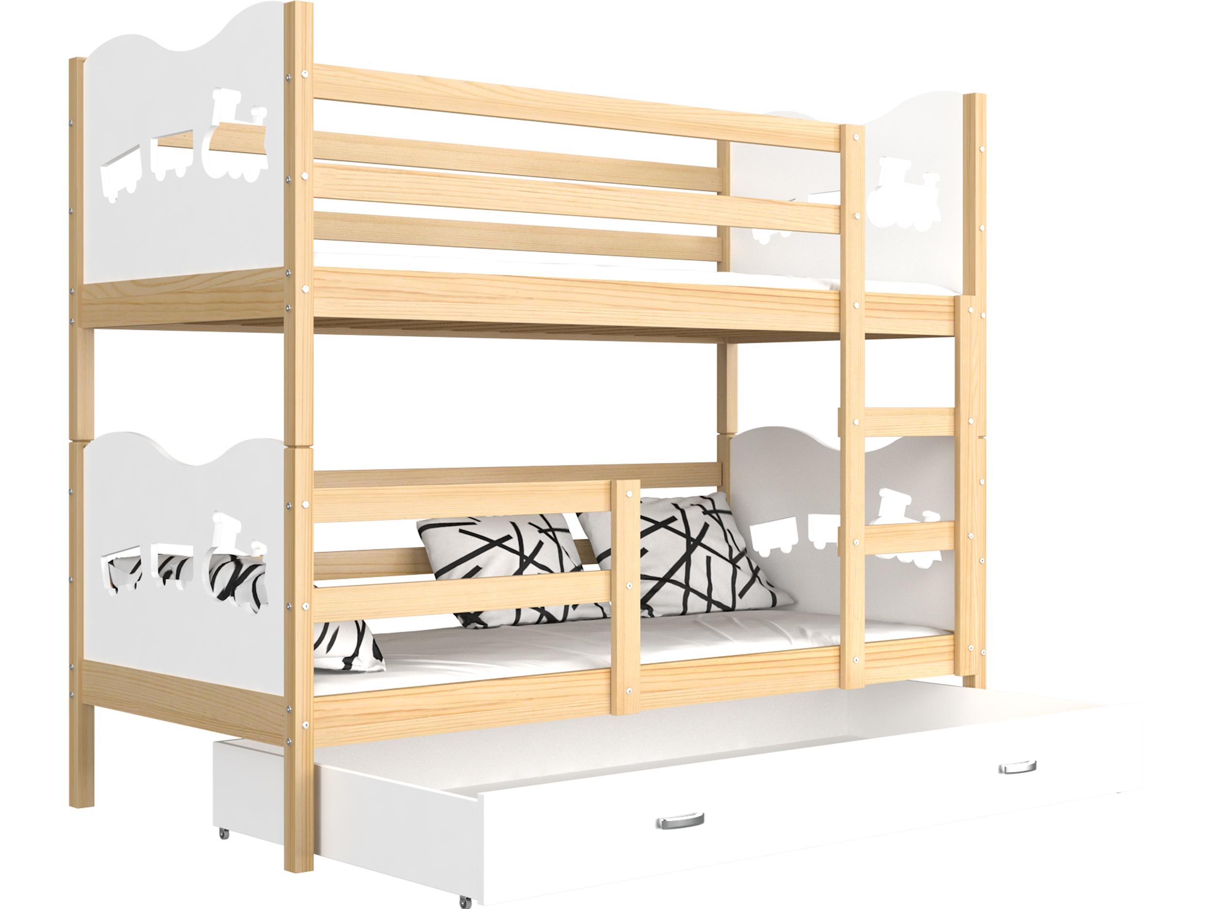 ArtAJ Detská poschodová posteľ MAX drevo / MDF 200 x 90 cm Farba: Borovica / biela 200 x 90 cm, s matracom