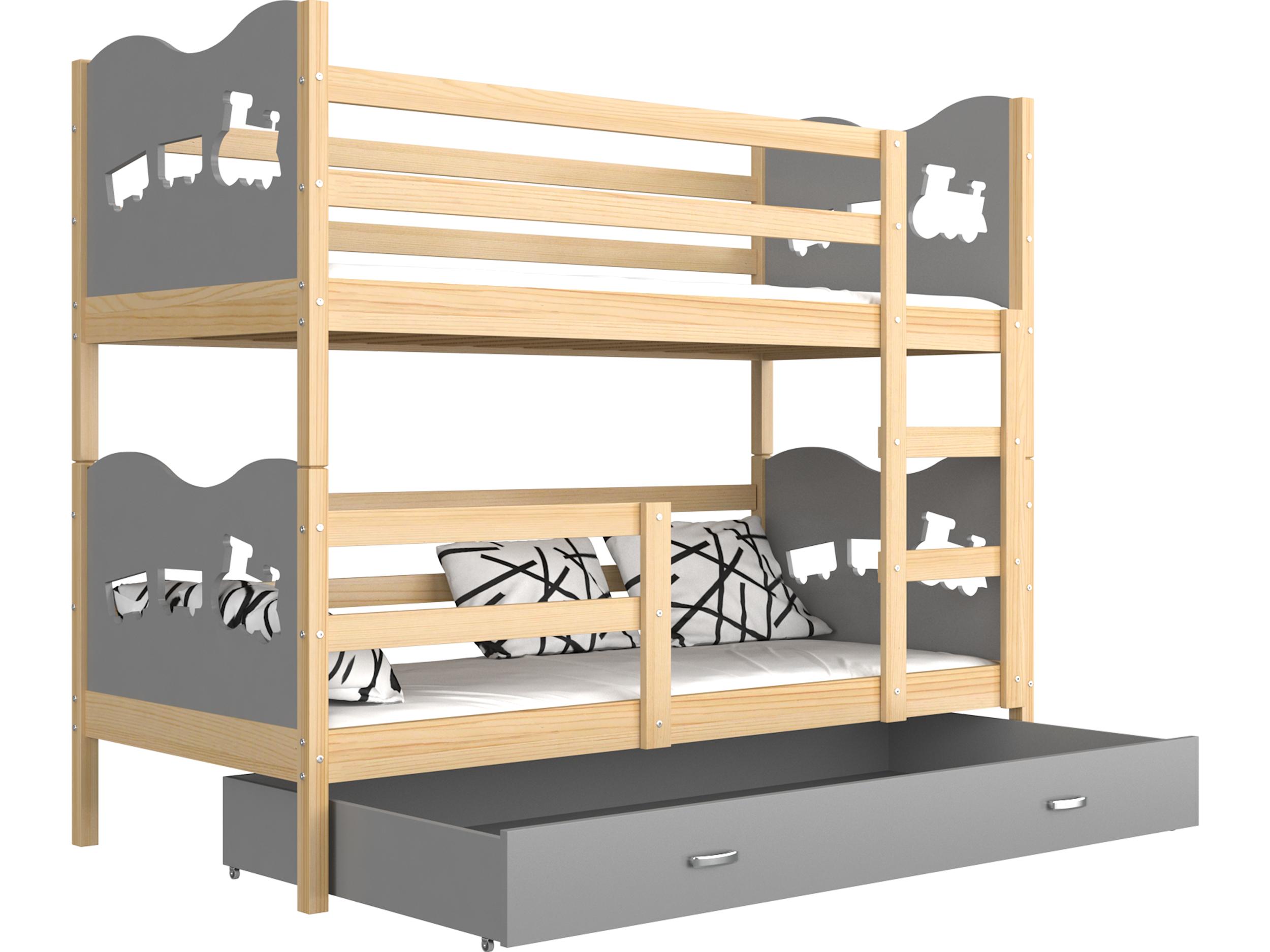 ArtAJ Detská poschodová posteľ MAX drevo / MDF 200 x 90 cm Farba: Borovica / sivá 200 x 90 cm, s matracom
