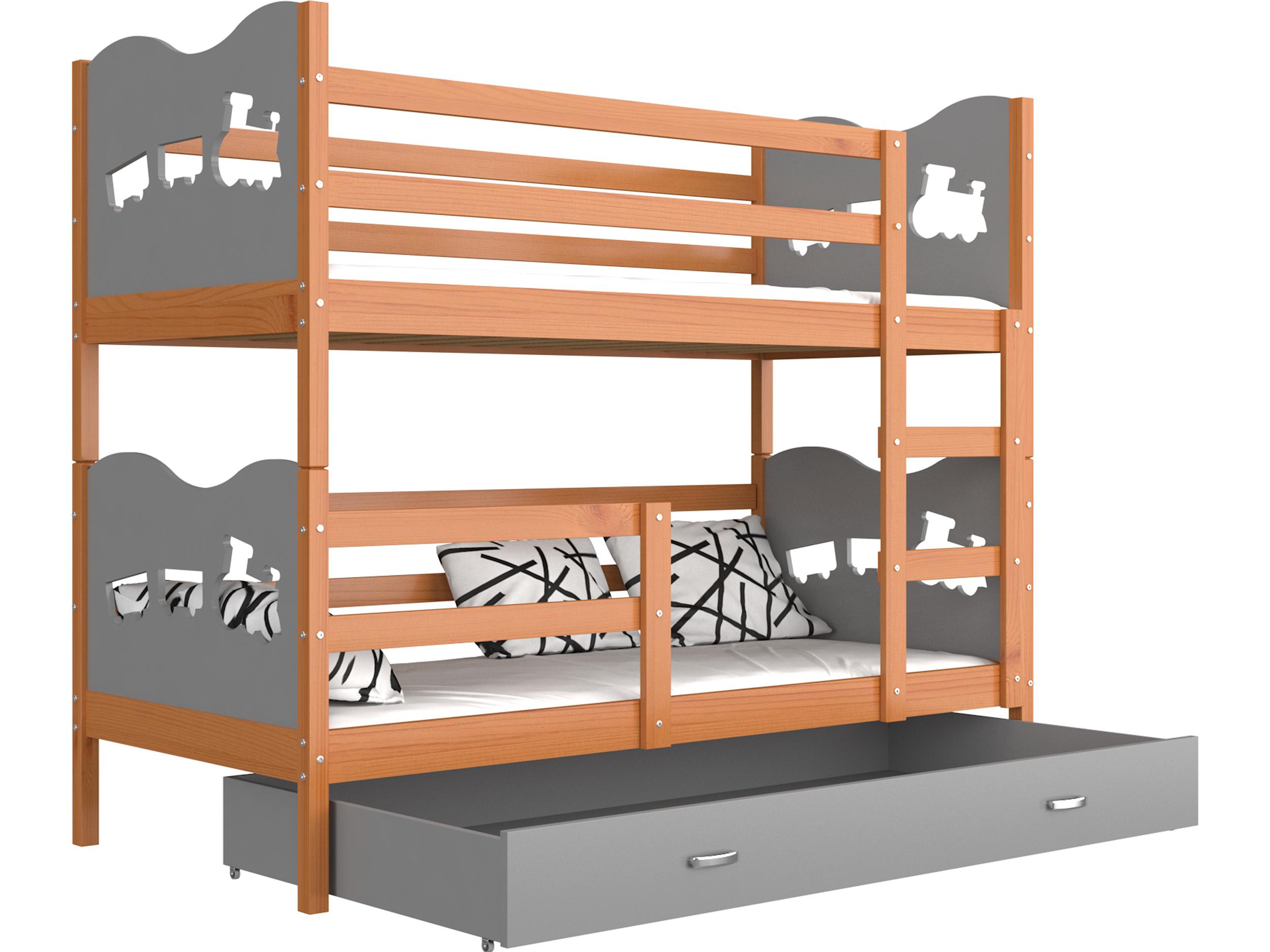 ArtAJ Detská poschodová posteľ MAX drevo / MDF 200 x 90 cm Farba: jelša / sivá 200 x 90 cm, s matracom