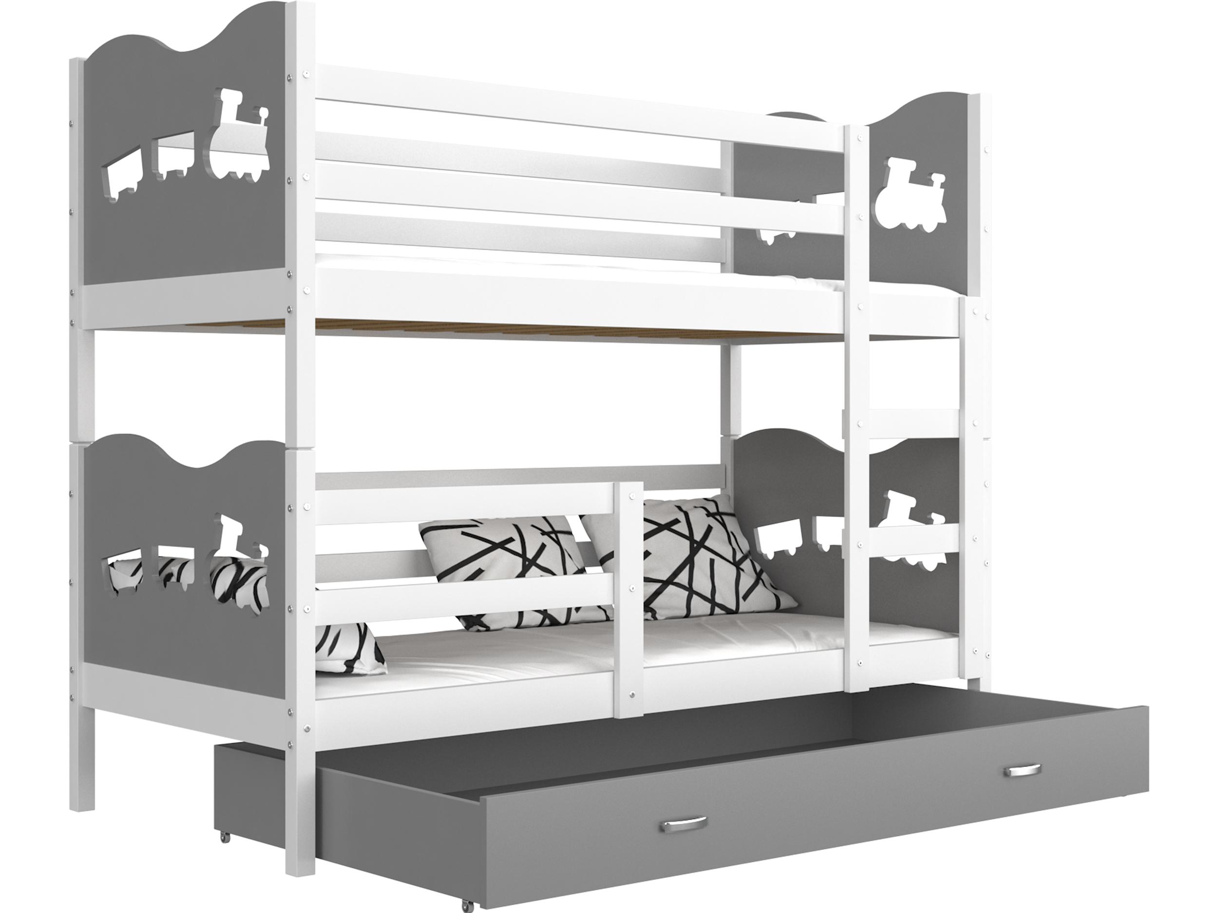 ArtAJ Detská poschodová posteľ MAX / MDF 200 x 90 cm Farba: biela / sivá, s matracom 200 x 90 cm