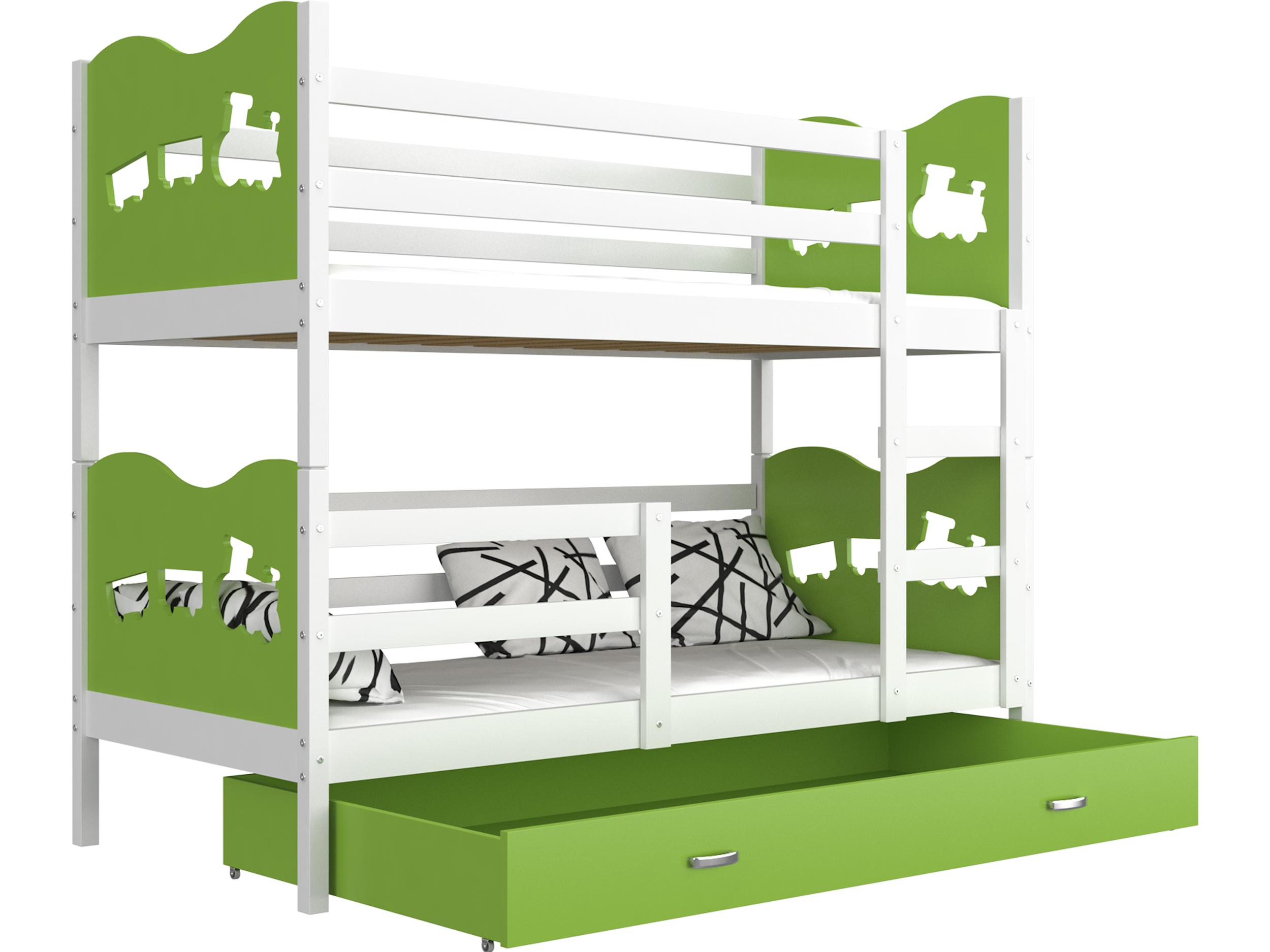 ArtAJ Detská poschodová posteľ MAX / MDF 200 x 90 cm Farba: biela / zelená, s matracom 200 x 90 cm