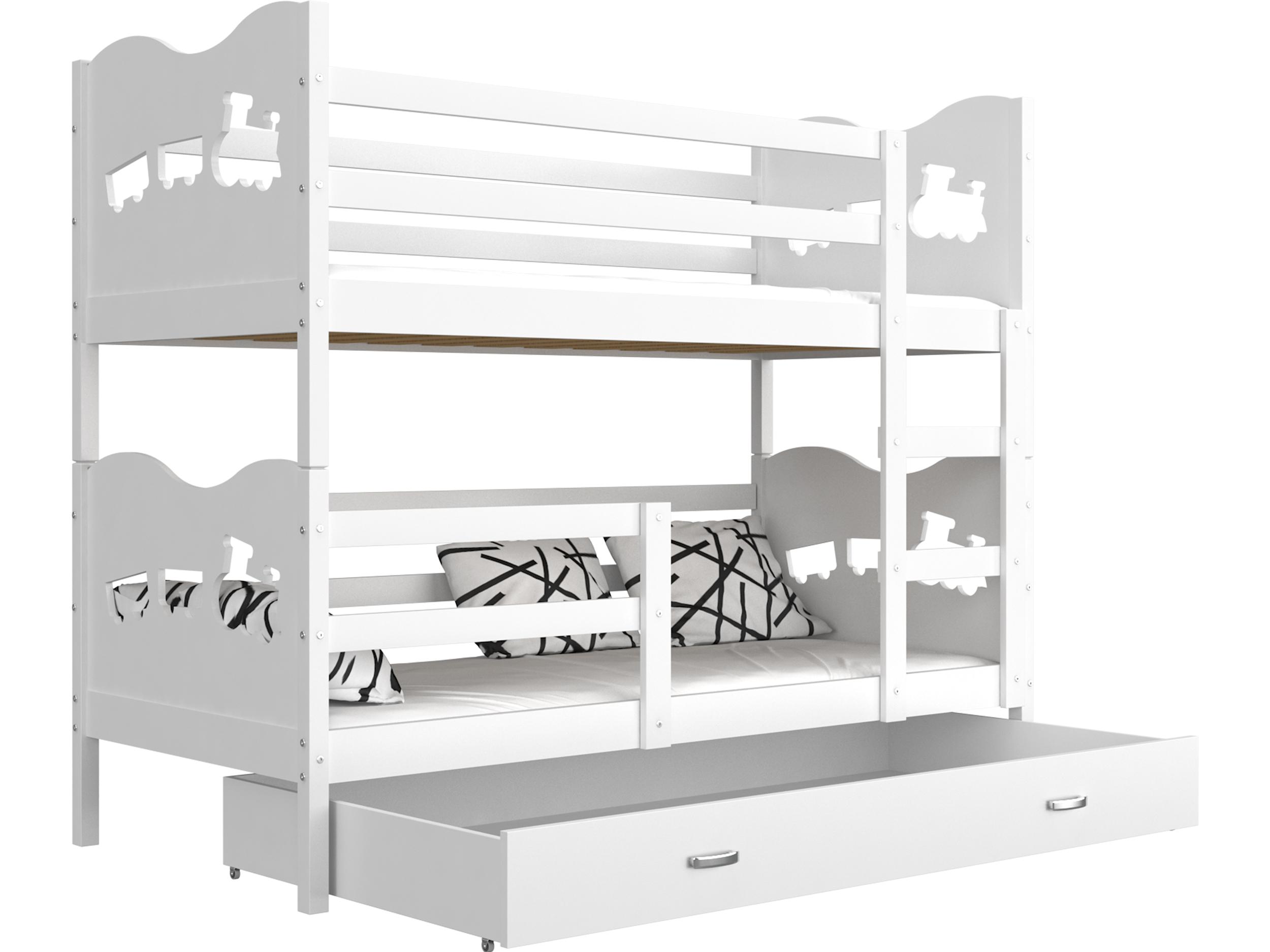 ArtAJ Detská poschodová posteľ MAX / MDF 200 x 90 cm Farba: Biela / biela, s matracom 200 x 90 cm
