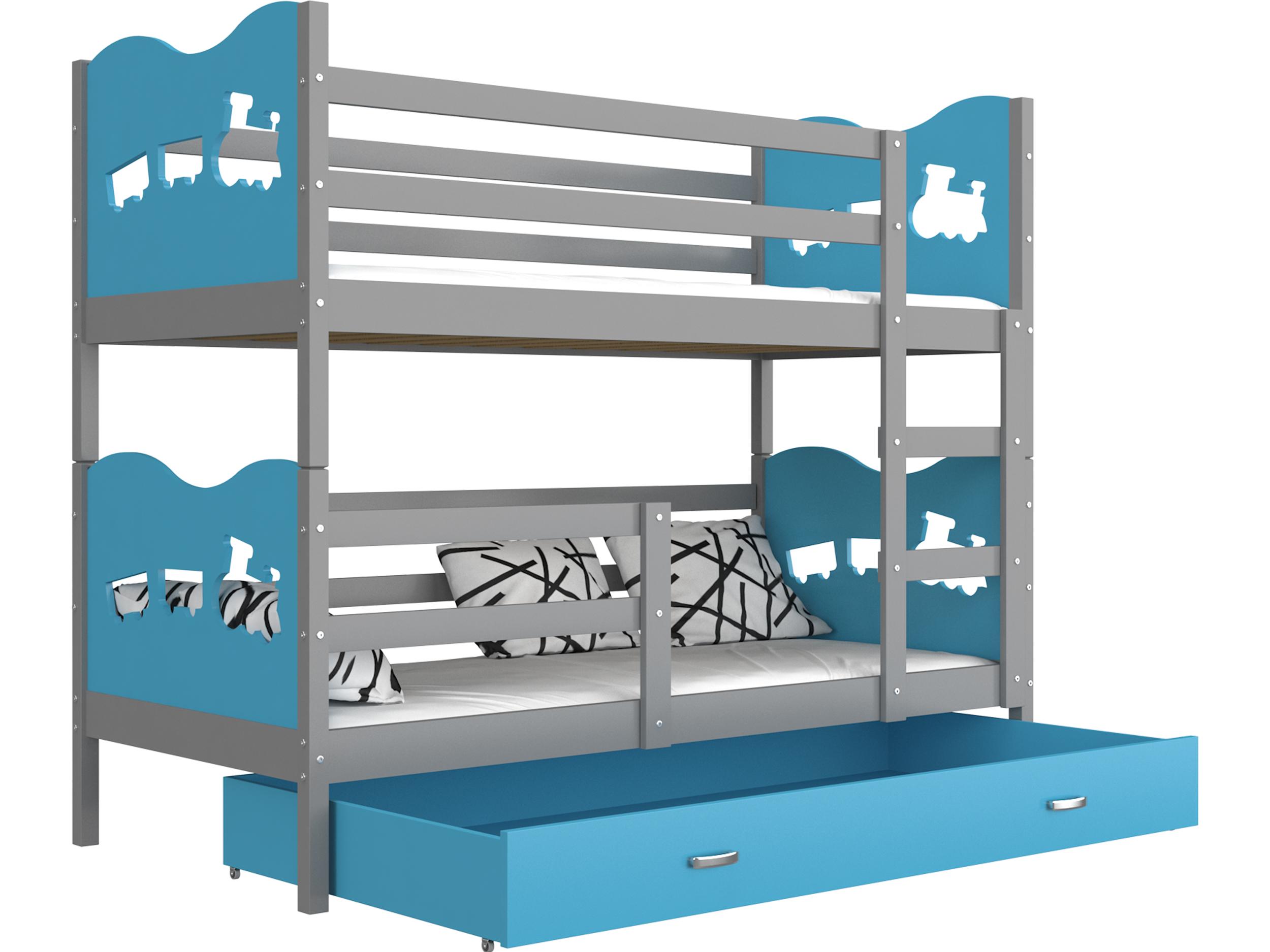 ArtAJ Detská poschodová posteľ MAX / MDF 200 x 90 cm Farba: sivá / modrá, s matracom 200 x 90 cm