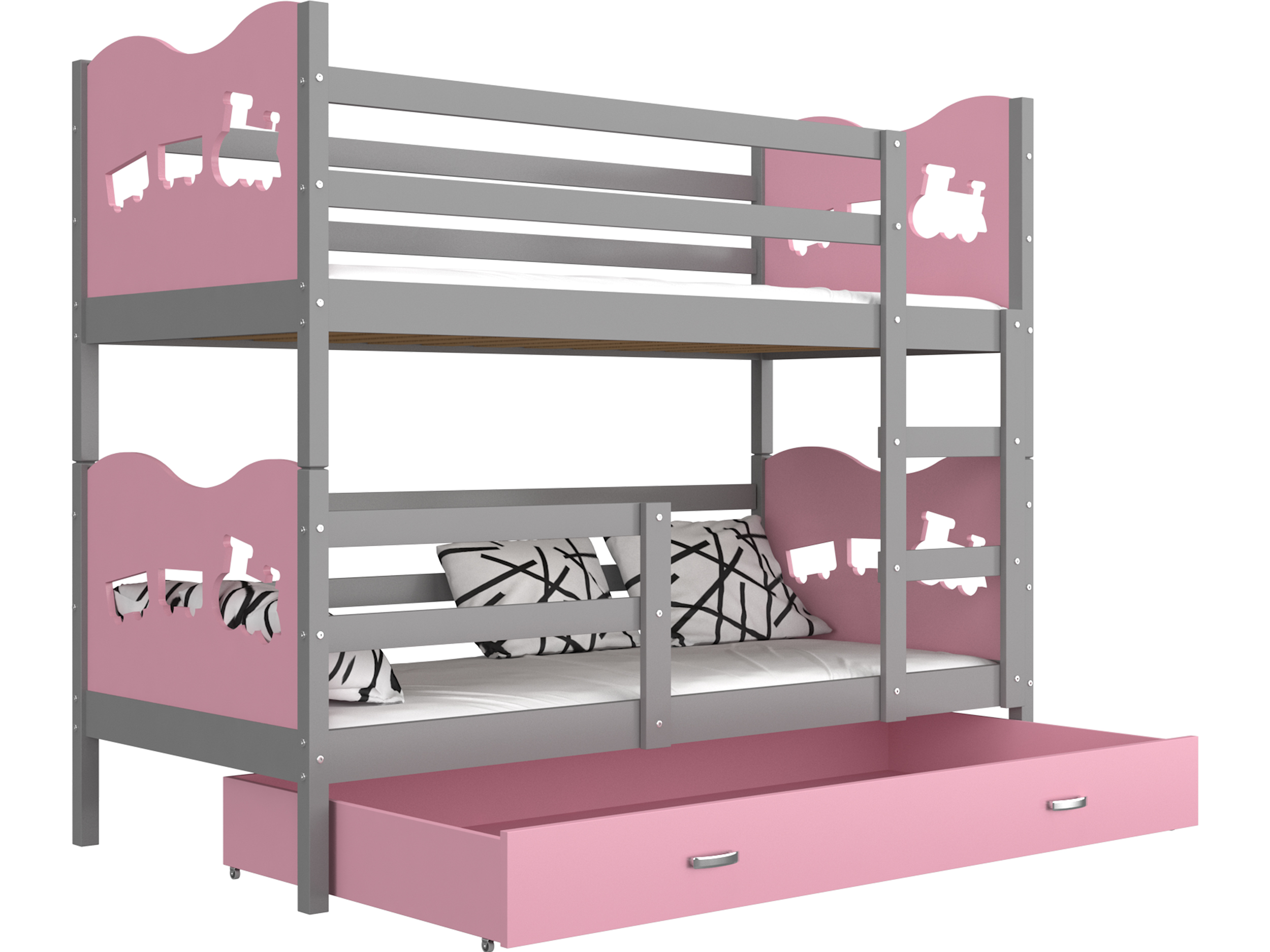 ArtAJ Detská poschodová posteľ MAX / MDF 200 x 90 cm Farba: sivá / ružová, s matracom 200 x 90 cm