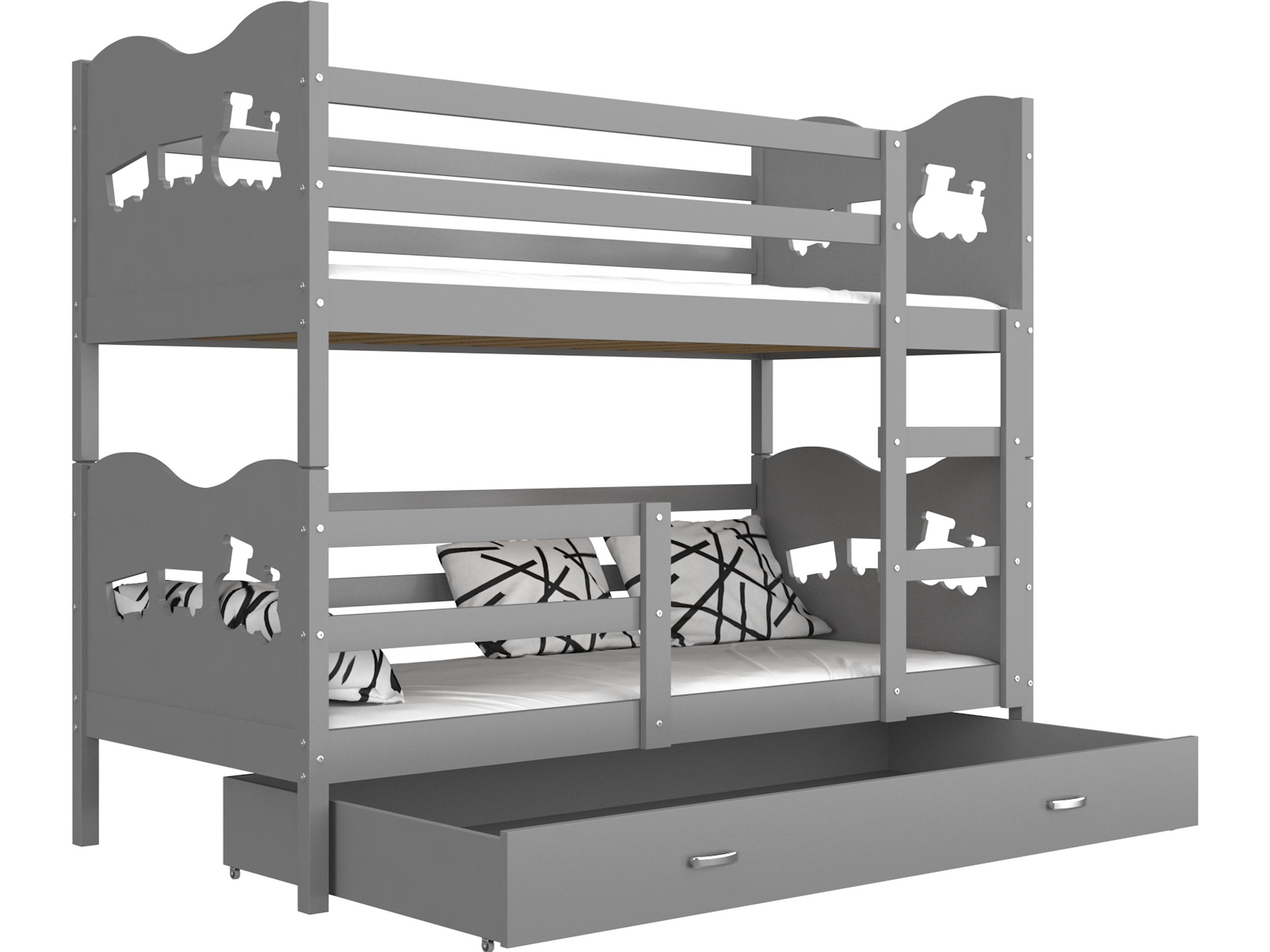 ArtAJ Detská poschodová posteľ MAX / MDF 200 x 90 cm Farba: Sivá / sivá, s matracom 200 x 90 cm