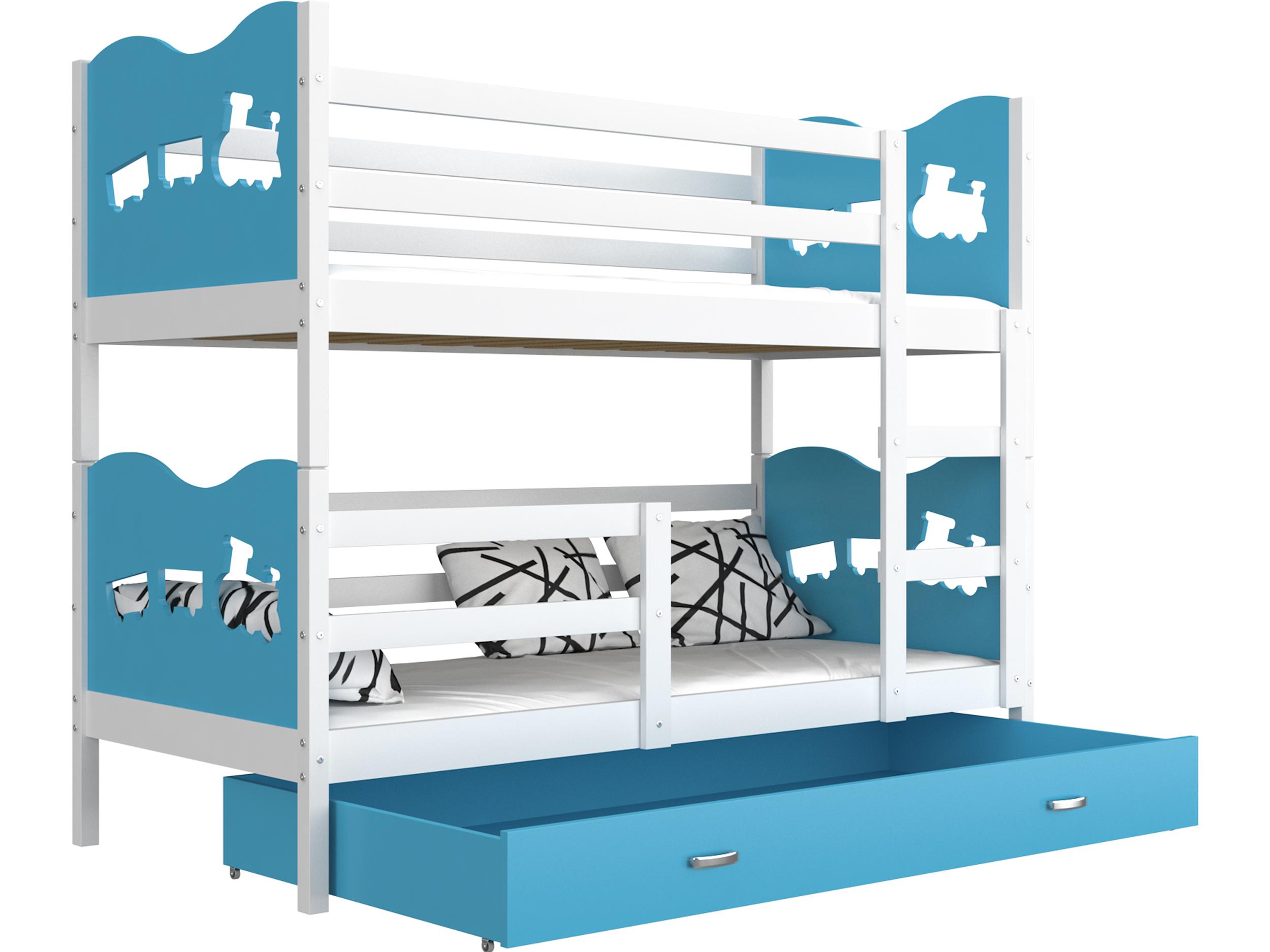 ArtAJ Detská poschodová posteľ MAX / MDF 200 x 90 cm Farba: biela / modrá, s matracom 200 x 90 cm