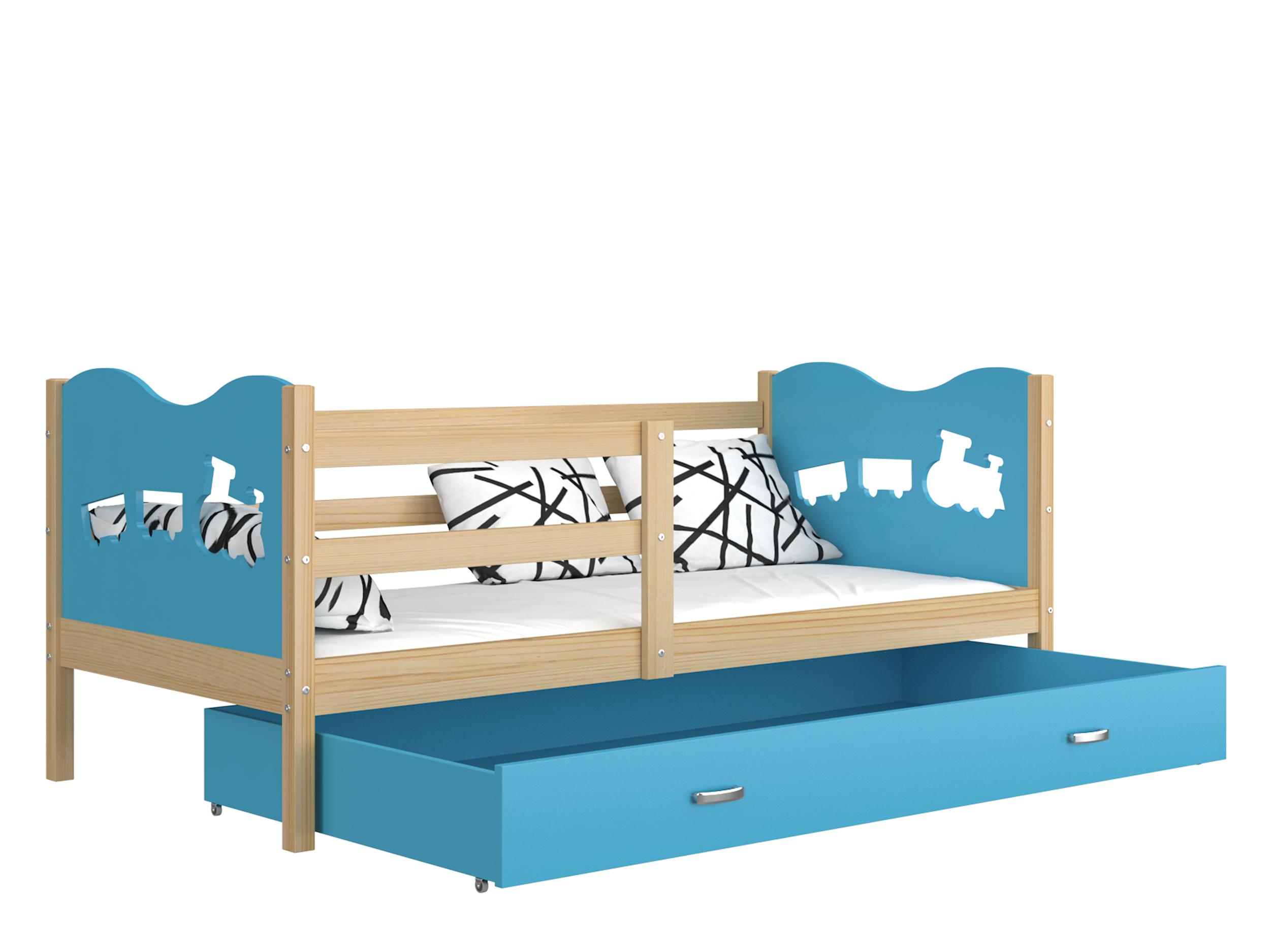 ArtAJ Detská posteľ MAX P drevo / MDF 160 x 80 cm Farba: Borovica / modrá 160 x 80 cm, s matracom