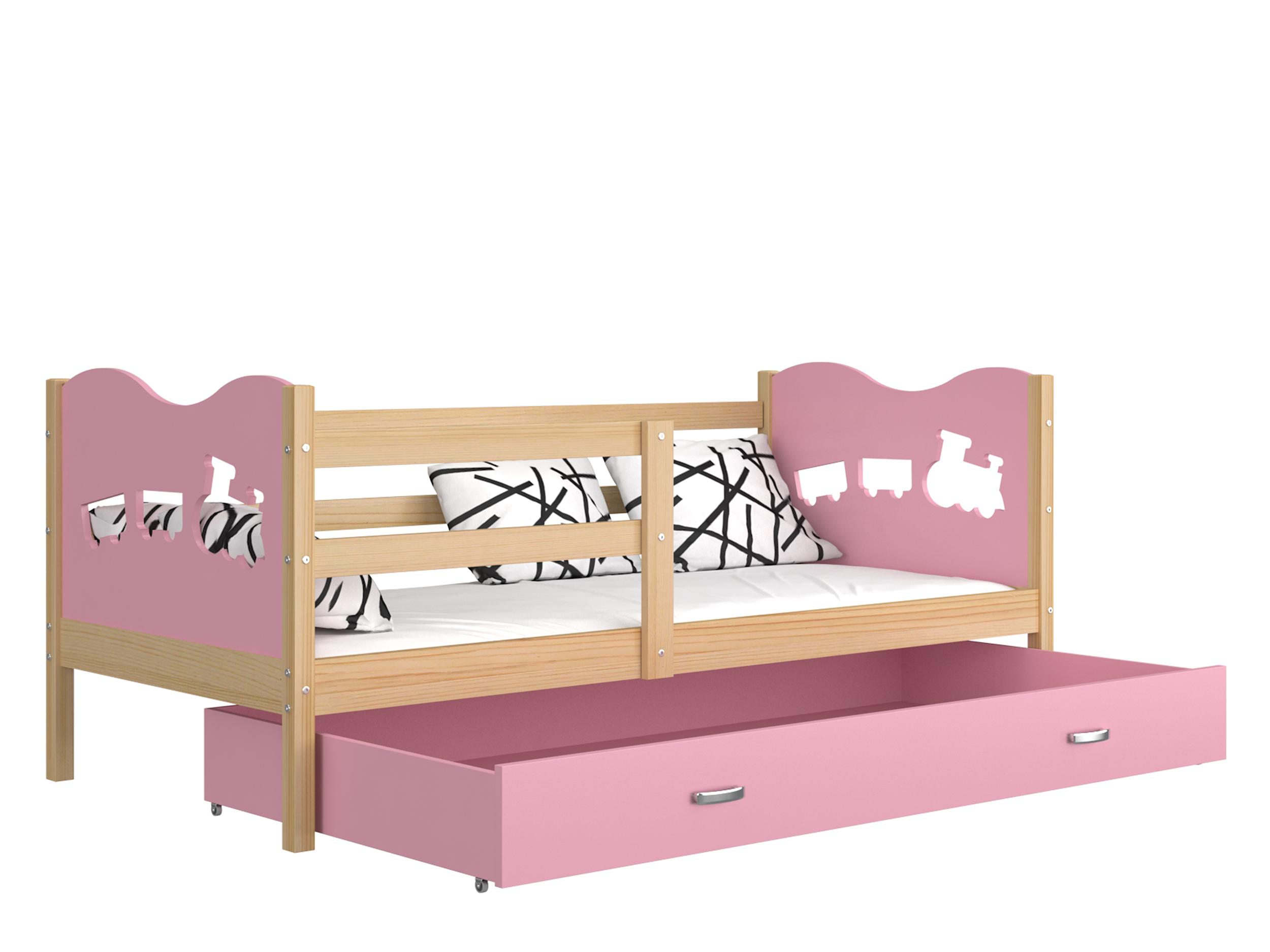 ArtAJ Detská posteľ MAX P drevo / MDF 160 x 80 cm Farba: Borovica / ružová 160 x 80 cm, s matracom