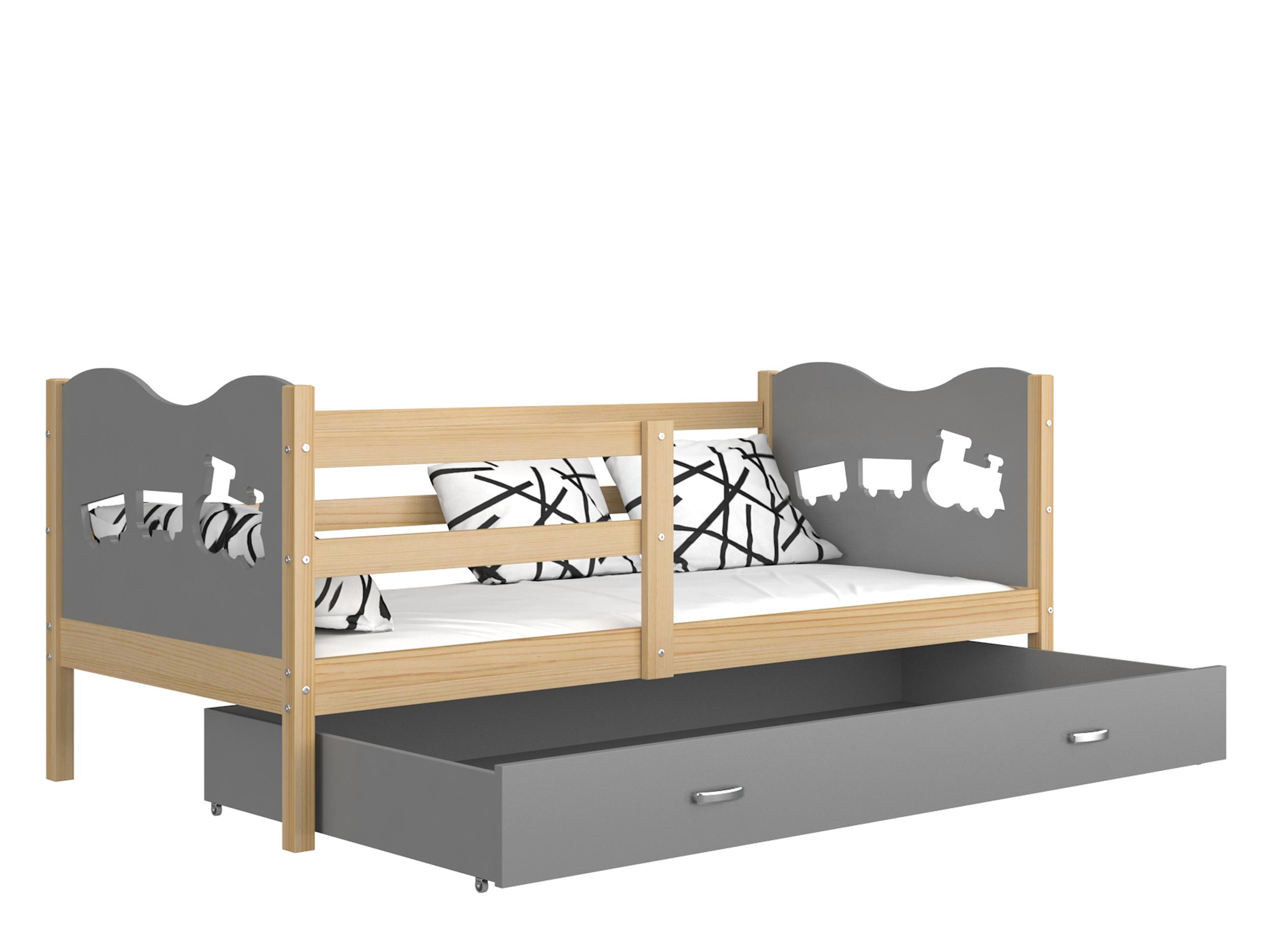 ArtAJ Detská posteľ MAX P drevo / MDF 160 x 80 cm Farba: Borovica / sivá 160 x 80 cm, s matracom
