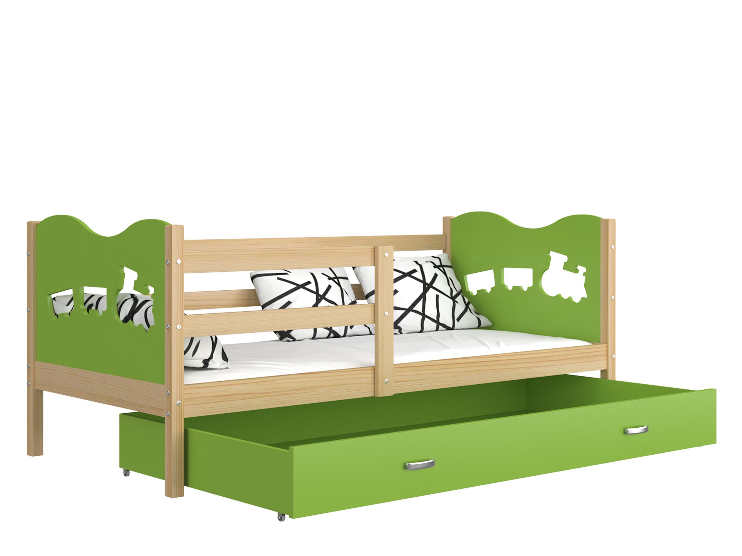 ArtAJ Detská posteľ MAX P drevo / MDF 160 x 80 cm Farba: Borovica / zelená 160 x 80 cm, s matracom