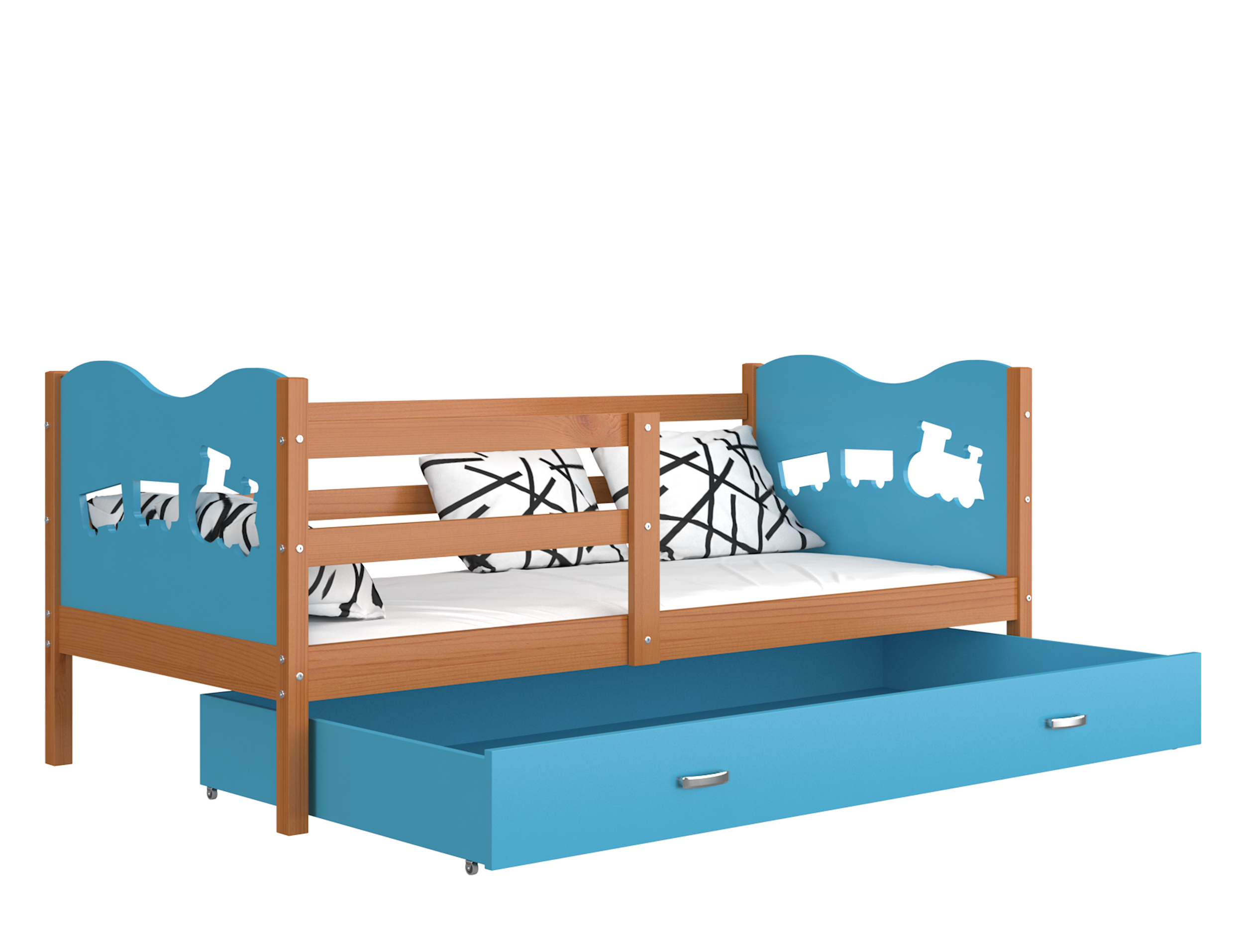 ArtAJ Detská posteľ MAX P drevo / MDF 160 x 80 cm Farba: jelša / modrá 160 x 80 cm, s matracom