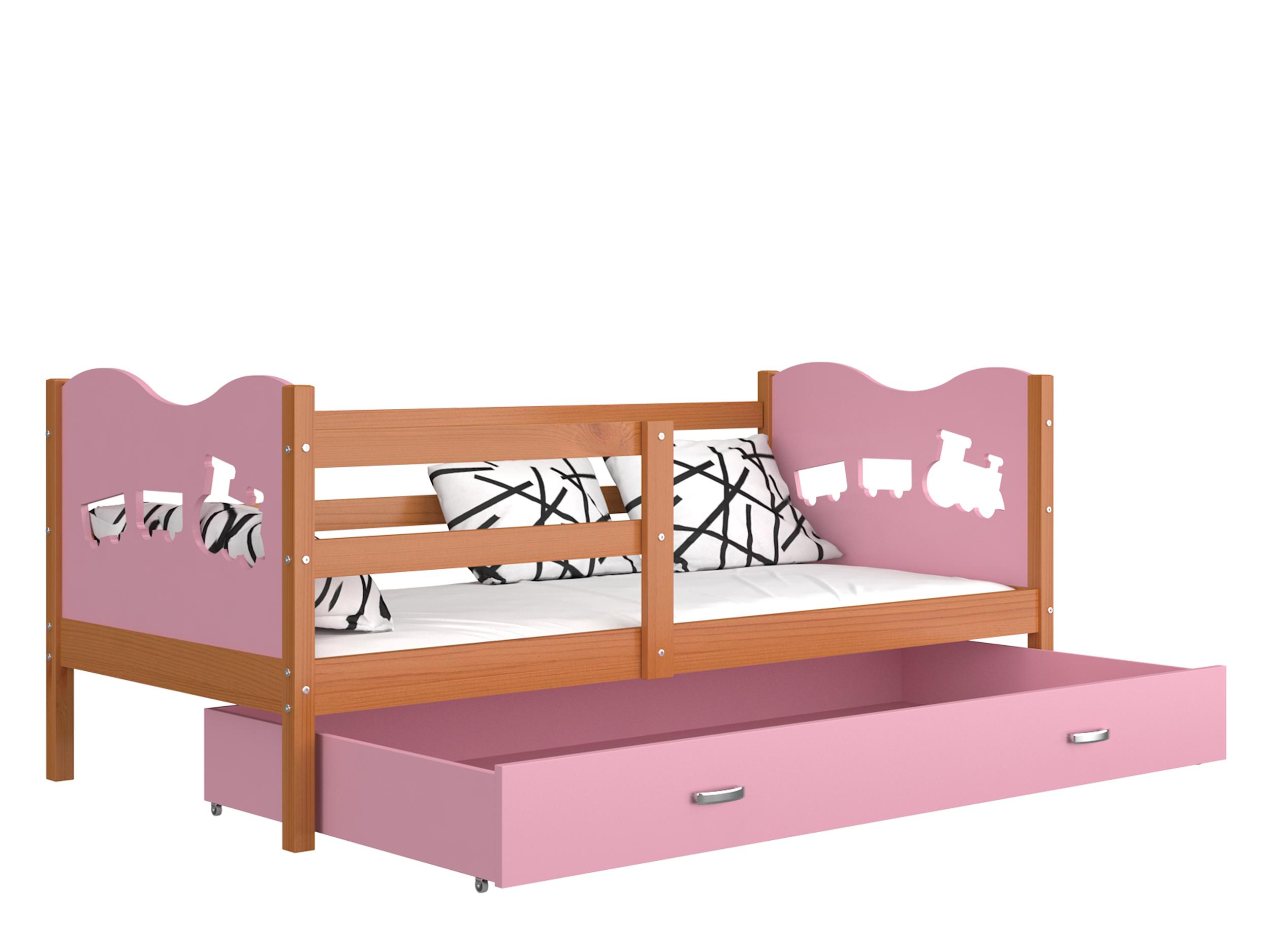 ArtAJ Detská posteľ MAX P drevo / MDF 160 x 80 cm Farba: jelša / ružová 160 x 80 cm, s matracom
