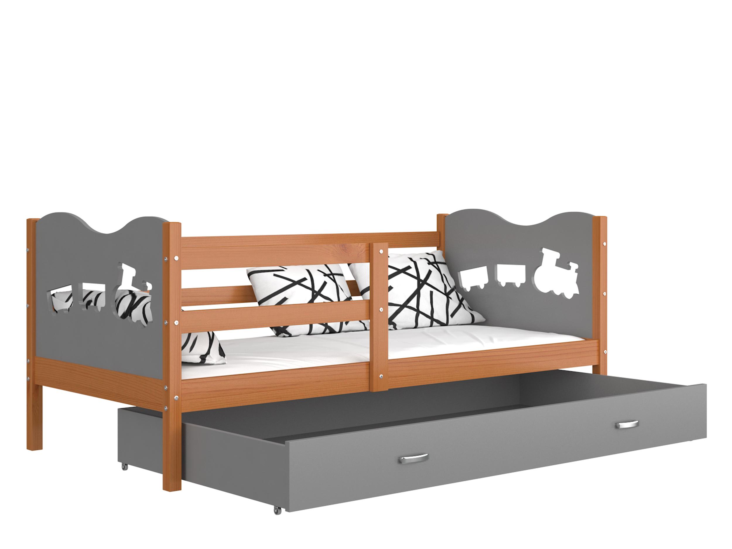 ArtAJ Detská posteľ MAX P drevo / MDF 160 x 80 cm Farba: jelša / sivá 160 x 80 cm, s matracom