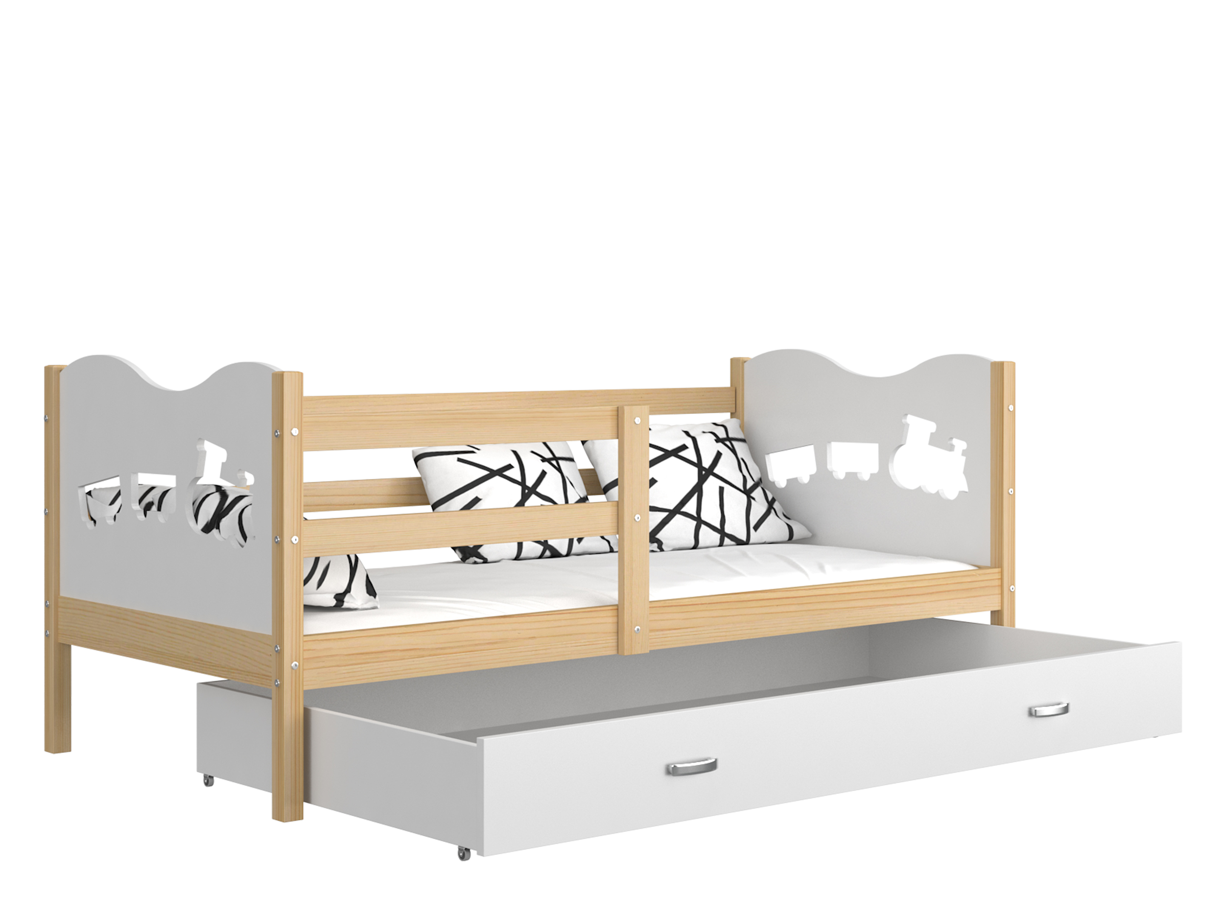 ArtAJ Detská posteľ MAX P drevo / MDF 160 x 80 cm Farba: Borovica / biela 160 x 80 cm, s matracom