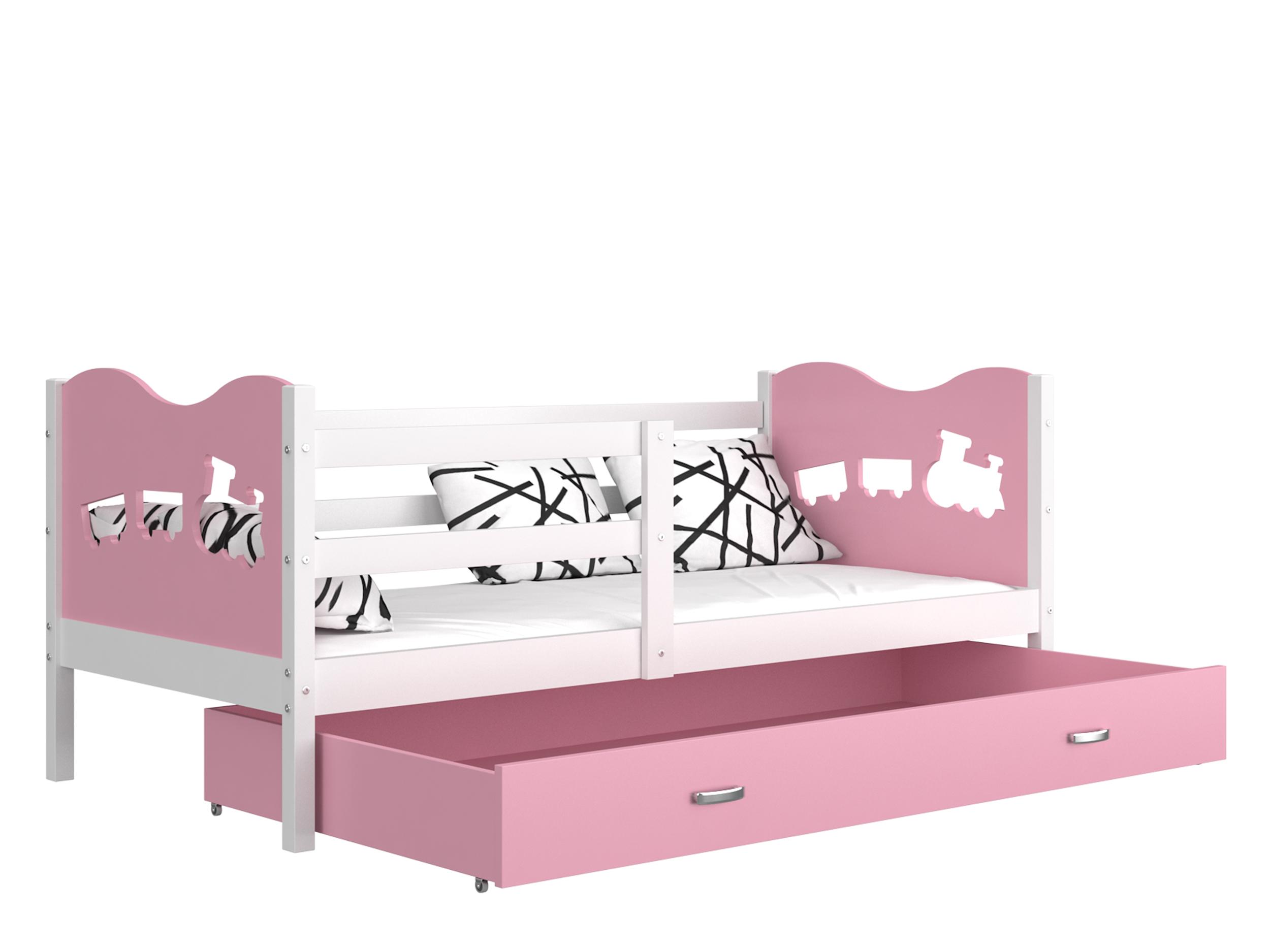 ArtAJ Detská posteľ MAX P / MDF 160 x 80 cm Farba: biela / ružová 160 x 80 cm, s matracom